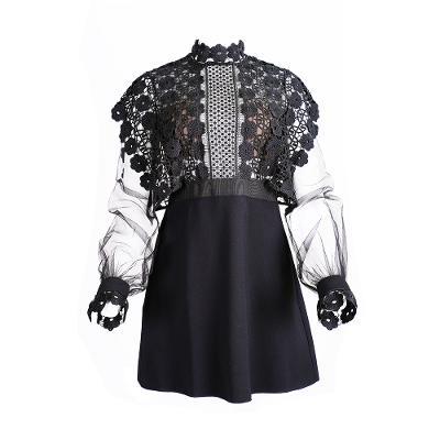 see through lace mini dress black